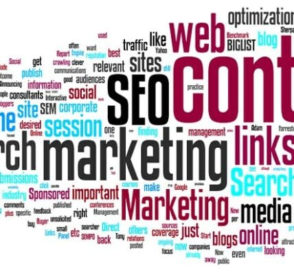 Image of marketing words such SEO, content, web