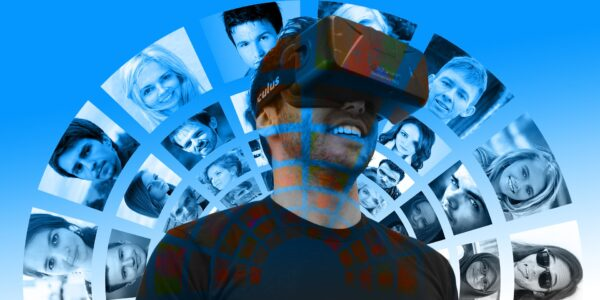 Image of a man with a virtual reality headset on