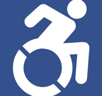 Blue and White Wheelchair Icon