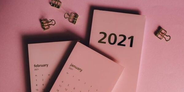 2021 calendar and bulldog clips
