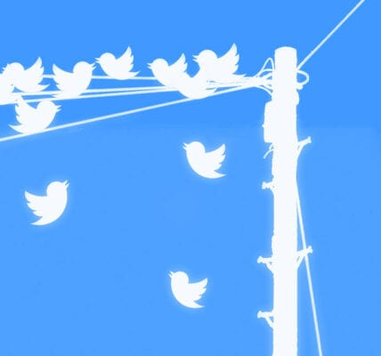 Twitter inspired image if tweets as birds on a telephone wire