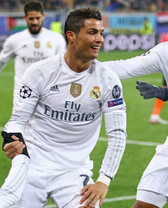 Crisitano Ronaldo playing for Real Madrid, the place he called home for 9 years.