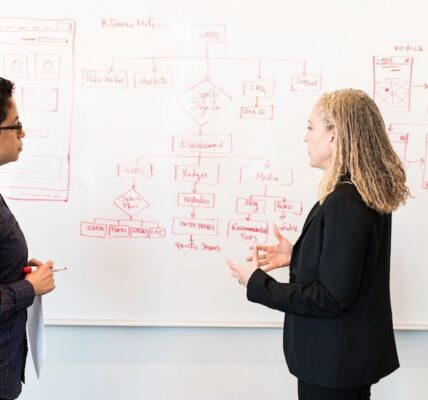 Two people standing and discussing in front of a white board with a mobile app wireframe drawn on it.